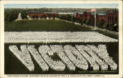 This Human Picture Composed of Blue Jackies of the U.S. Naval Station Postcard