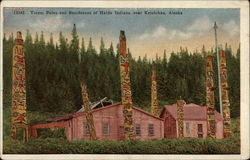 Totem Poles and Residences of Haida Indians