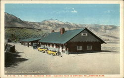 NP Station, Electric Peak in distance Postcard
