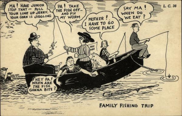 Family fishing trip Comic, Funny