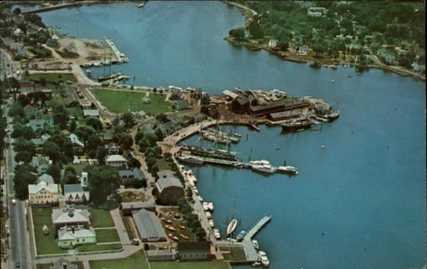 Air view of Mystic Seaport Stonington Connecticut