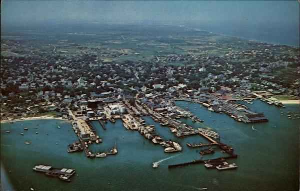 Air View of Nantucket Docks and Waterfront Massachusetts