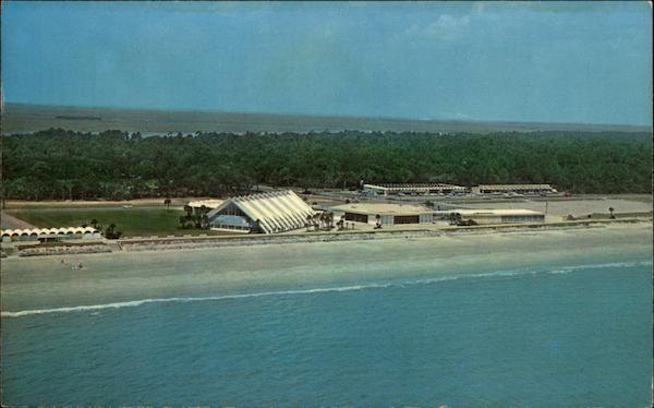 Beach Christmas Cards >> Shopping Center, Aquarama and Beach Area Jekyll Island, GA