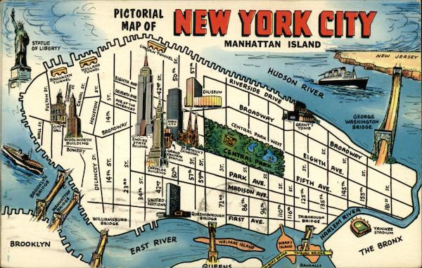 Pictorial Map of New York City Manhattan Island