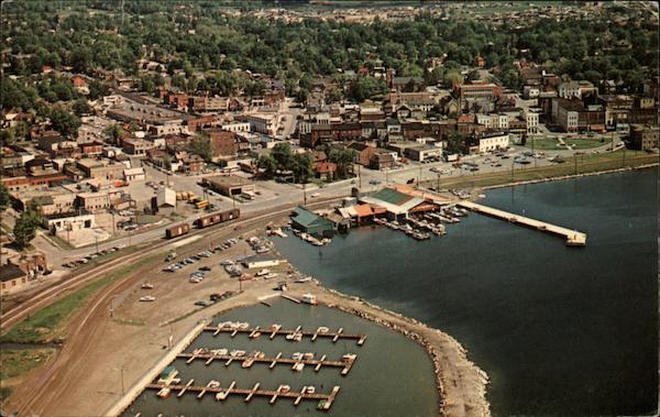 Aerial View of Docks, Waterfront and Business Section Barrie Canada
