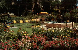Flower filled patio of Hotel Laguna