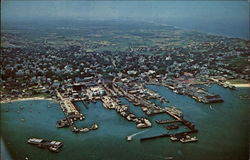Air View of Nantucket Docks and Waterfront