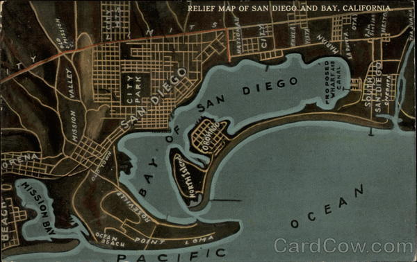 Relief Map of San Diego and Bay California