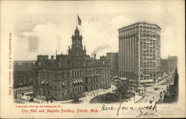 City Hall and Majestic Building Detroit Michigan