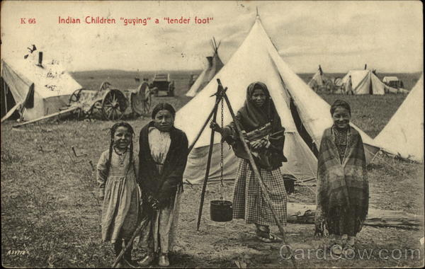 Indian Children Guying a Tender Foot Native Americana