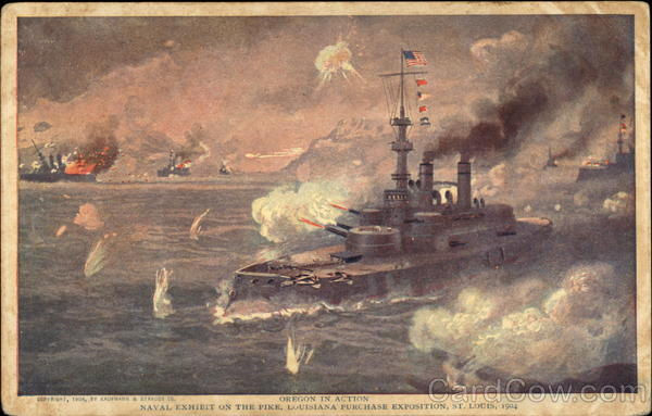 Oregon in Action. Naval Exhibit on the Pike, Louisiana Purchase Exposition