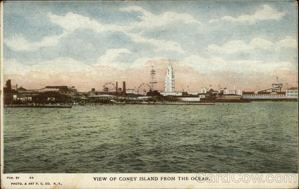 View Of Coney Island From The Ocean Amusement Parks