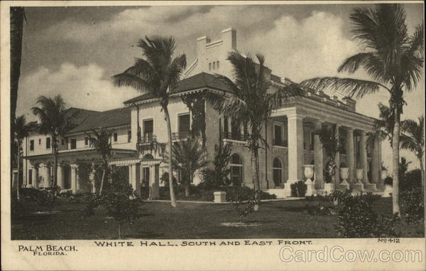 White Hall, South and East Front Palm Beach Florida