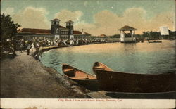 City Park Lake and Band Stand Postcard