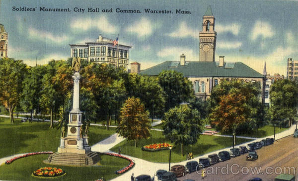 Soldiers Monument, City Hall and Common Worcester Massachusetts
