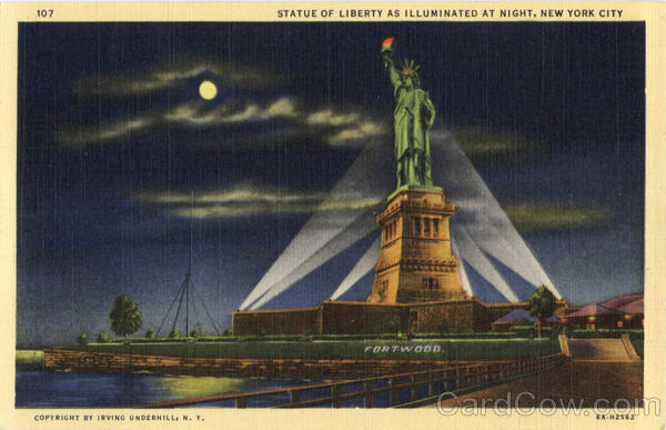 Statue of Liberty As Illuminated At Night New York City