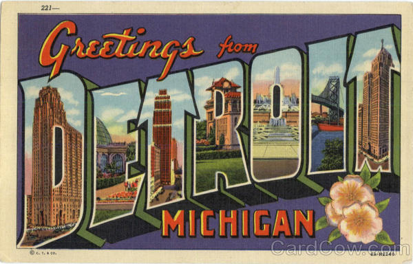 Greetings from Detroit Large Letter Michigan