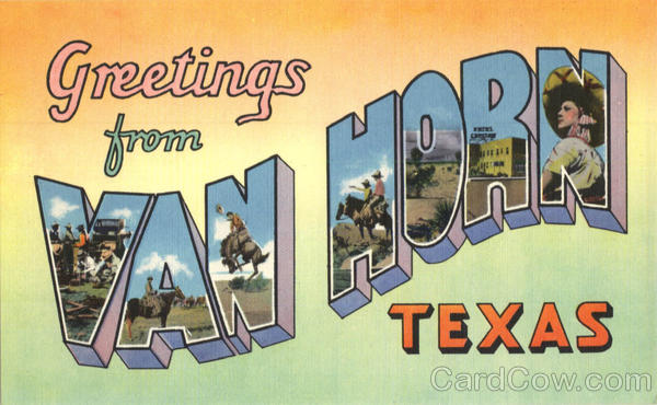 Greetings from Van Horn Large Letter Texas