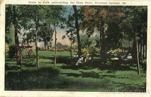 Scene in Park surrounding the Elms Hotel Excelsior Springs Missouri