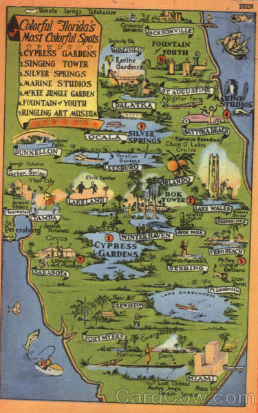 Map of colorful Attractions of Florida Scenic Maps