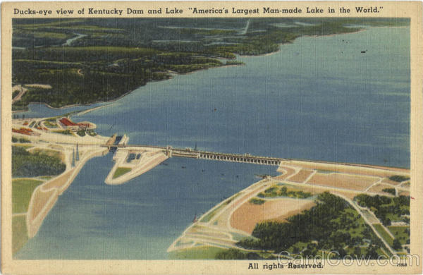 Ducks-eye view of Kentucky Dam and LakeKY