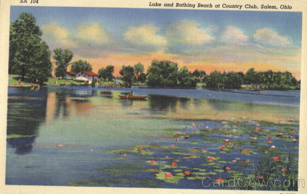 Lake and Bathing Beach at Country Club Salem Ohio