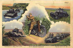 U. S. Armored Regiment Motorcycle, Tanks Postcard