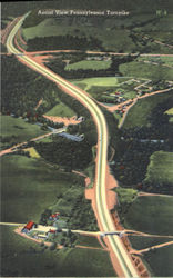 Aerial View Pennsylvania Turnpike Postcard