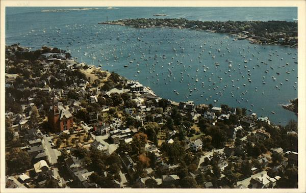 Aerial view of the town Marblehead Massachusetts