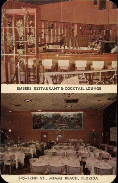 Embers Restaurant Cocktail Lounge Miami Beach Fl