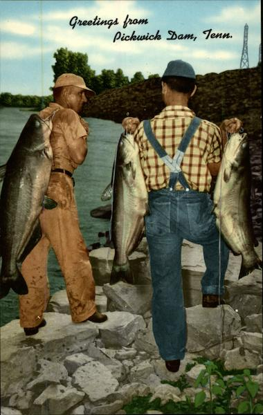 Two fishermen with catfish Pickwick Dam Tennessee