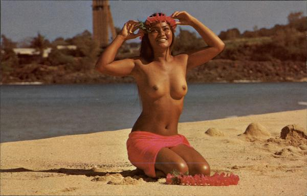 Lovely Hawaiian maiden on a sunny island beach Loye Guthrie