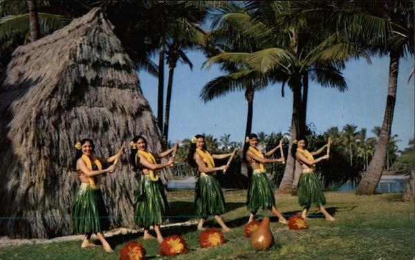 Hawaiian girls dancing hula