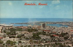 Panoramic view of Honolulu's business district Postcard