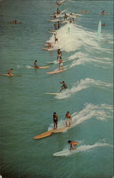 Surfers at Waikiki Postcard