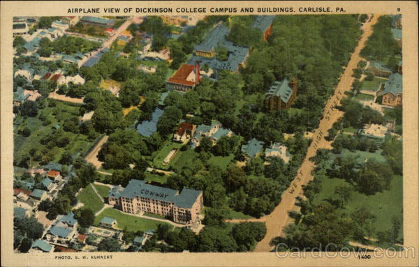 Airplane View of Dickinson College Campus and Buildings Carlisle Pennsylvania