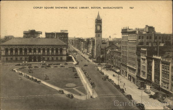 Copley Square Showing Public Library Boston Massachusetts