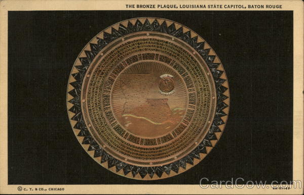The bronze plaque, Louisiana State Capitol Baton Rouge