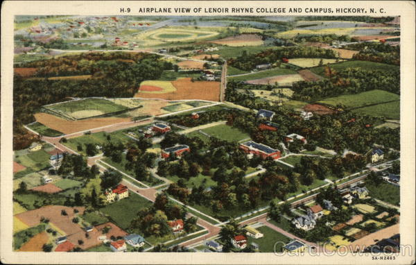 Airplane View of Lenoir Rhyne College and Campus Hickory North Carolina