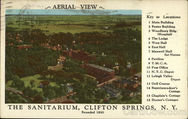 Aerial view of the Sanitarium Clifton Springs New York