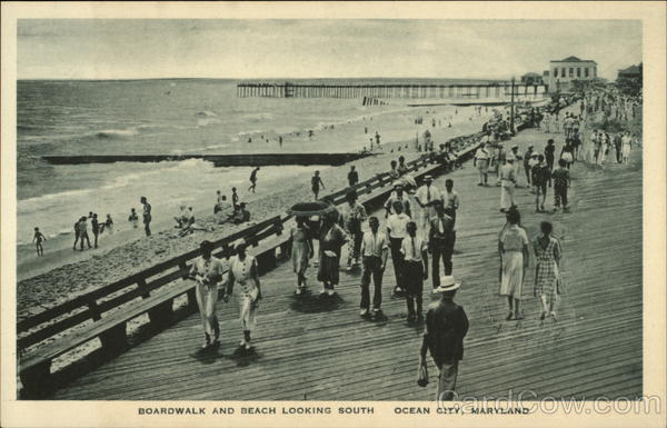Boardwalk and Beach Looking South Ocean City Maryland
