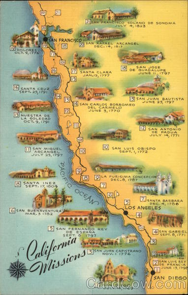 Map of California Missions Maps