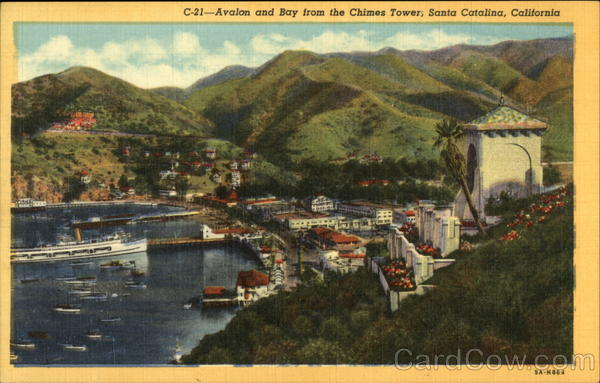 Avealon and bay from the Chimes Tower Santa Catalina Island California