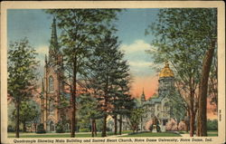Quardangle Showing Main Building and Sacred Heart Church, Notre Dame University