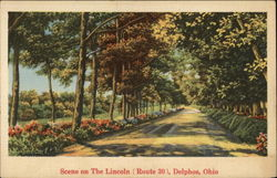 Scene on The Lincoln (Route 30) Postcard