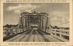 View of Main Span and part of Driveway of New 5442 Foot Bridge Postcard