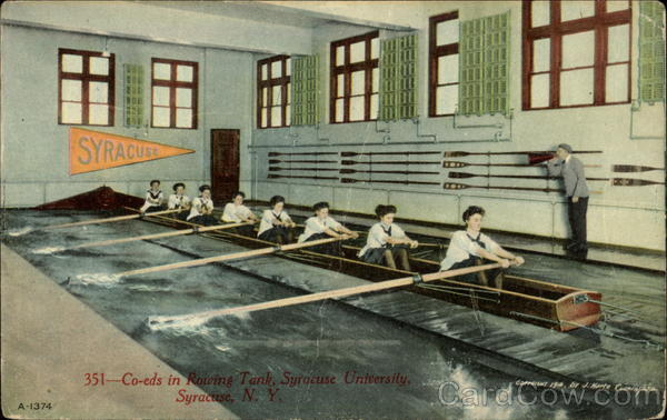 Coeds in Rowing Tank, Syracuse University New York