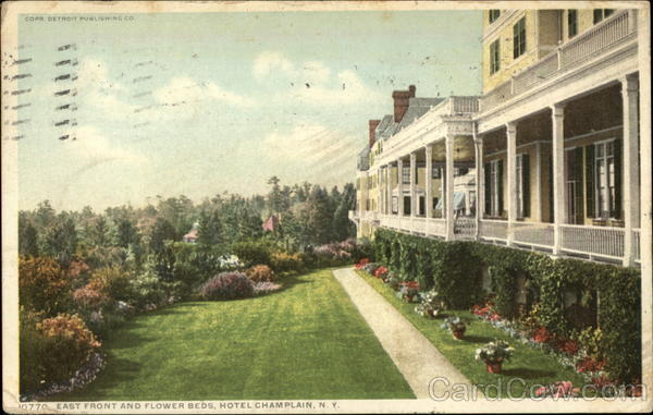 East front and flower beds, Hotel Champlain New York