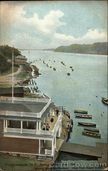 Apoughksepsian Boat Club looking down the Hudson - View from Kaale Rock Poughkeepsie New York