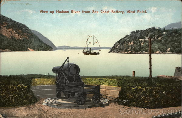 View up Hudson River from Sea Coast Battery West Point New York